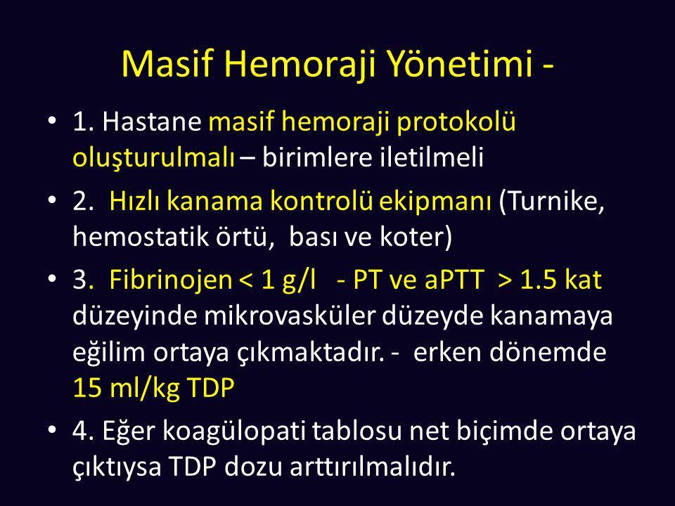 Masif Hemoraji Yönetimi - 1. Hastane masif hemoraji protokolü oluşturulmalı – birimlere iletilmeli 2. Hızlı kanama kontrolü ekipmanı (Turnike, hemosta