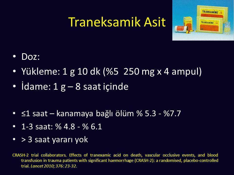 Traneksamik Asit Doz: Yükleme: 1 g 10 dk (%5 250 mg x 4 ampul) İdame: 1 g – 8 saat içinde ≤1 saat – kanamaya bağlı ölüm % 5.3 - %7.7 1-3 saat: % 4.8 -