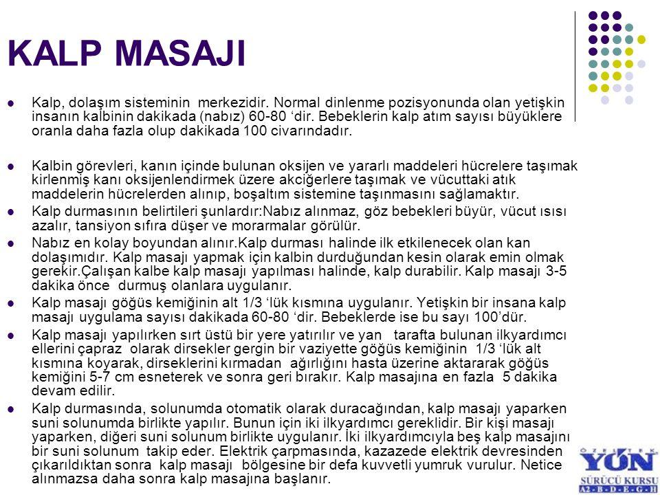 KALP MASAJI Kalp, dolaşım sisteminin merkezidir. Normal dinlenme pozisyonunda olan yetişkin insanın kalbinin dakikada (nabız) 60-80 'dir. Bebeklerin k