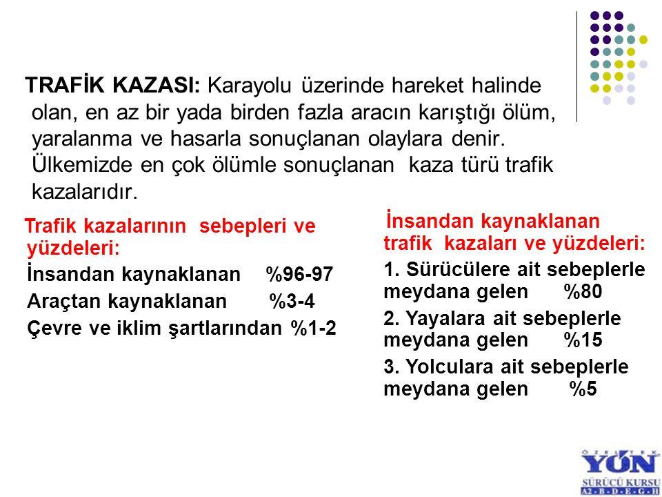 TRAFİK KAZASI: Karayolu üzerinde hareket halinde olan, en az bir yada birden fazla aracın karıştığı ölüm, yaralanma ve hasarla sonuçlanan olaylara den