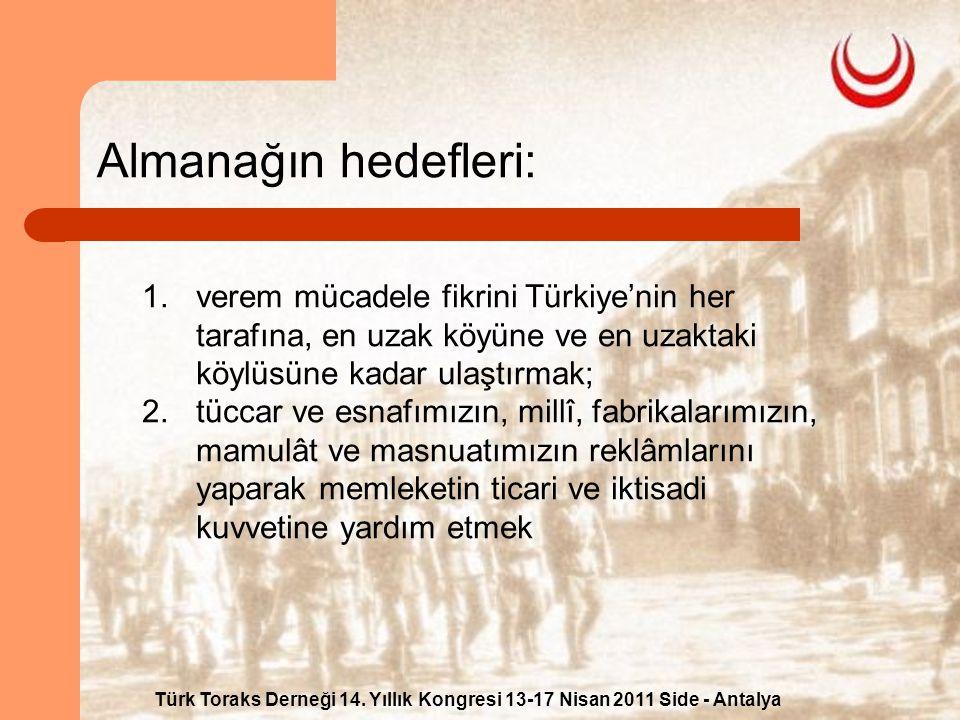 Türk Toraks Derneği 14. Yıllık Kongresi 13-17 Nisan 2011 Side - Antalya Almanağın hedefleri: 1.verem mücadele fikrini Türkiye'nin her tarafına, en uza