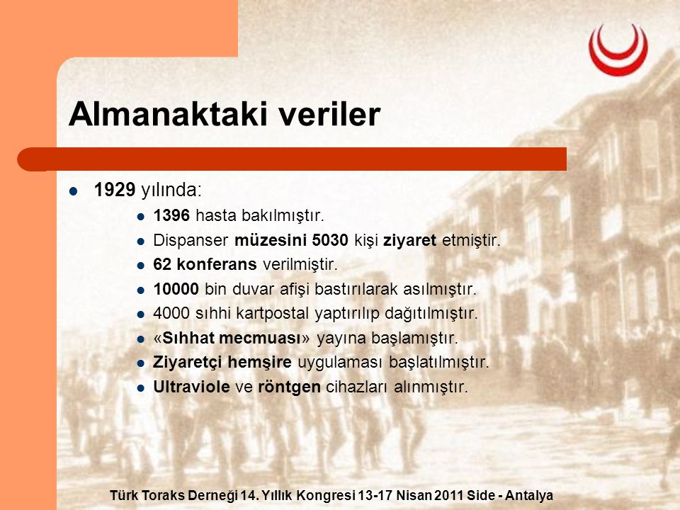 Türk Toraks Derneği 14. Yıllık Kongresi 13-17 Nisan 2011 Side - Antalya Almanaktaki veriler 1929 yılında: 1396 hasta bakılmıştır. Dispanser müzesini 5
