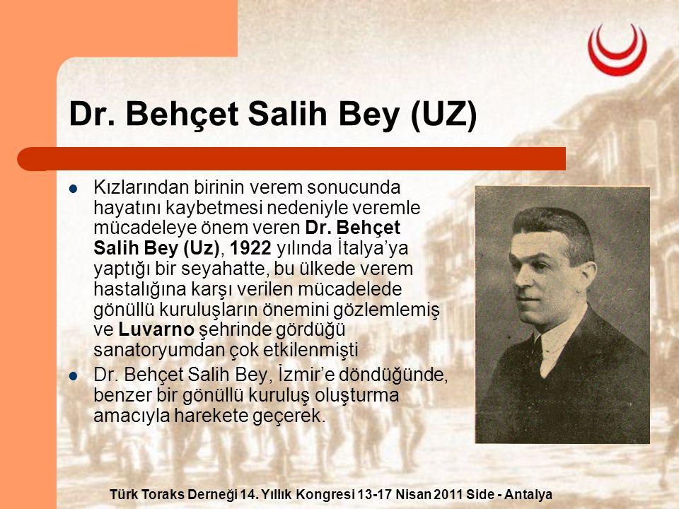 Türk Toraks Derneği 14. Yıllık Kongresi 13-17 Nisan 2011 Side - Antalya Dr. Behçet Salih Bey (UZ) Kızlarından birinin verem sonucunda hayatını kaybetm