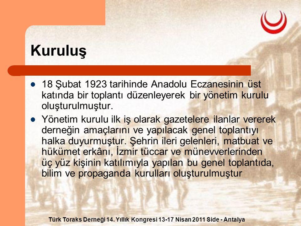 Türk Toraks Derneği 14. Yıllık Kongresi 13-17 Nisan 2011 Side - Antalya Kuruluş 18 Şubat 1923 tarihinde Anadolu Eczanesinin üst katında bir toplantı d