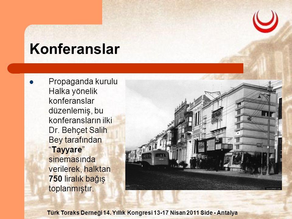 Türk Toraks Derneği 14. Yıllık Kongresi 13-17 Nisan 2011 Side - Antalya Konferanslar Propaganda kurulu Halka yönelik konferanslar düzenlemiş, bu konfe