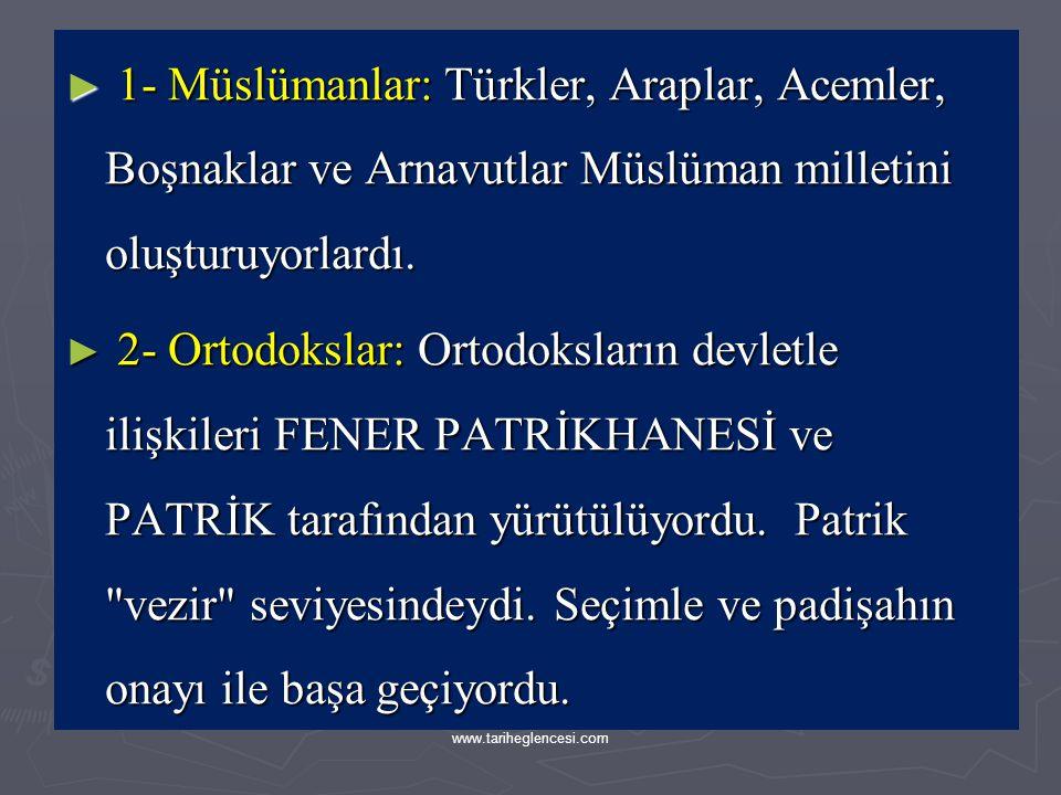 C)-OSMANLI TOPLUMUNUN DİNİ YAPISI (MİLLET SİSTEMİ) ► Osmanlı Devletinde Millet kavramı günümüzdeki anlamından farklıydı. Aynı din ve mezhepten gelen t