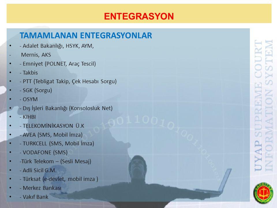 ENTEGRASYON TAMAMLANAN ENTEGRASYONLAR - Adalet Bakanlığı, HSYK, AYM, - Mernis, AKS - Emniyet (POLNET, Araç Tescil) - Takbis - PTT (Tebligat Takip, Çek Hesabı Sorgu) - SGK (Sorgu) - OSYM - Dış İşleri Bakanlığı (Konsolosluk Net) - KIHBI - TELEKOMİNİKASYON Ü.K - AVEA (SMS, Mobil İmza) - TURKCELL (SMS, Mobil İmza) - VODAFONE (SMS) -Türk Telekom – (Sesli Mesaj) - Adli Sicil G.M.
