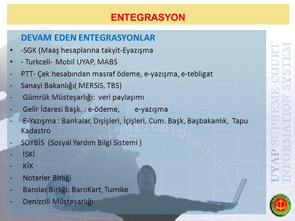 ENTEGRASYON DEVAM EDEN ENTEGRASYONLAR -SGK (Maaş hesaplarına takyit-Eyazışma - Turkcell- Mobil UYAP, MABS -PTT- Çek hesabından masraf ödeme, e-yazışma, e-tebligat -Sanayi Bakanlığı( MERSiS, TBS) - Gümrük Müsteşarlığı: veri paylaşımı - Gelir İdaresi Başk.