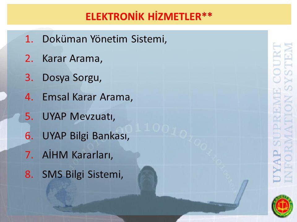 ELEKTRONİK HİZMETLER** 1.Doküman Yönetim Sistemi, 2.Karar Arama, 3.Dosya Sorgu, 4.Emsal Karar Arama, 5.UYAP Mevzuatı, 6.UYAP Bilgi Bankası, 7.AİHM Kararları, 8.SMS Bilgi Sistemi,