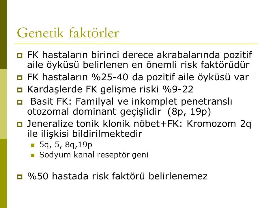 Genetik faktörler  FK hastaların birinci derece akrabalarında pozitif aile öyküsü belirlenen en önemli risk faktörüdür  FK hastaların %25-40 da pozitif aile öyküsü var  Kardaşlerde FK gelişme riski %9-22  Basit FK: Familyal ve inkomplet penetranslı otozomal dominant geçişlidir (8p, 19p)  Jeneralize tonik klonik nöbet+FK: Kromozom 2q ile ilişkisi bildirilmektedir 5q, 5, 8q,19p Sodyum kanal reseptör geni  %50 hastada risk faktörü belirlenemez