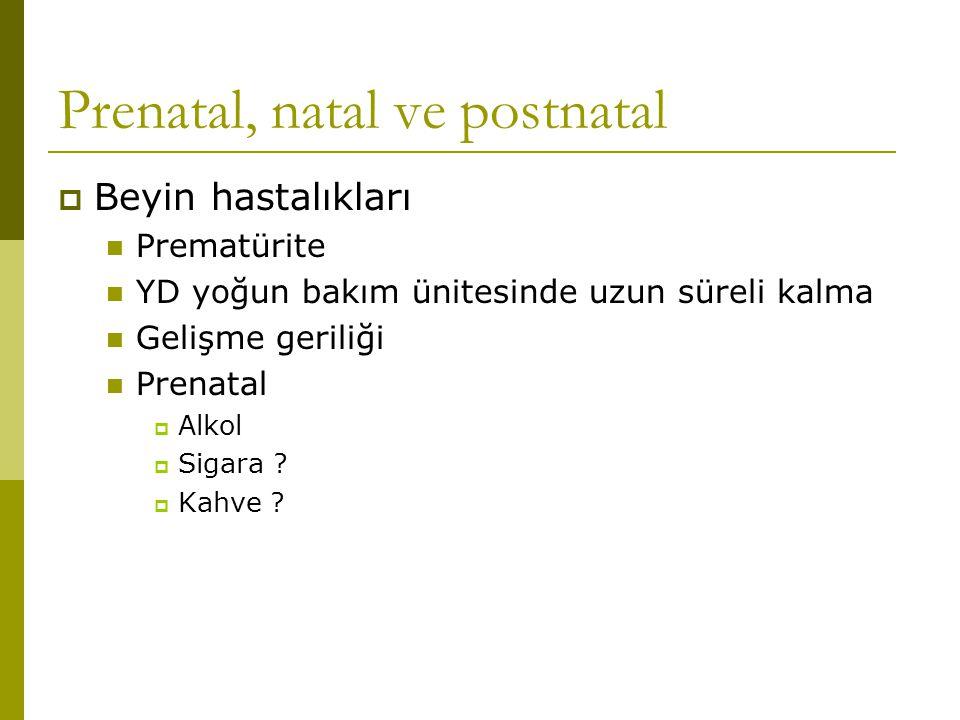 Prenatal, natal ve postnatal  Beyin hastalıkları Prematürite YD yoğun bakım ünitesinde uzun süreli kalma Gelişme geriliği Prenatal  Alkol  Sigara ?