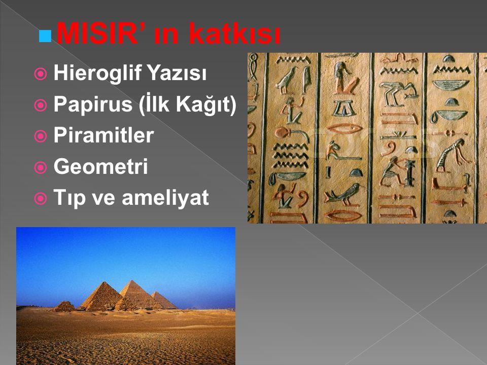  Hieroglif Yazısı  Papirus (İlk Kağıt)  Piramitler  Geometri  Tıp ve ameliyat MISIR' ın katkısı