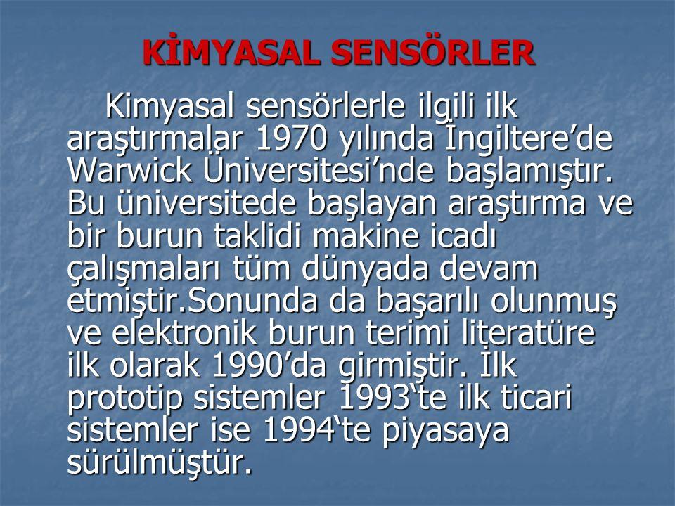 KİMYASAL SENSÖRLER Kimyasal sensörlerle ilgili ilk araştırmalar 1970 yılında İngiltere'de Warwick Üniversitesi'nde başlamıştır.