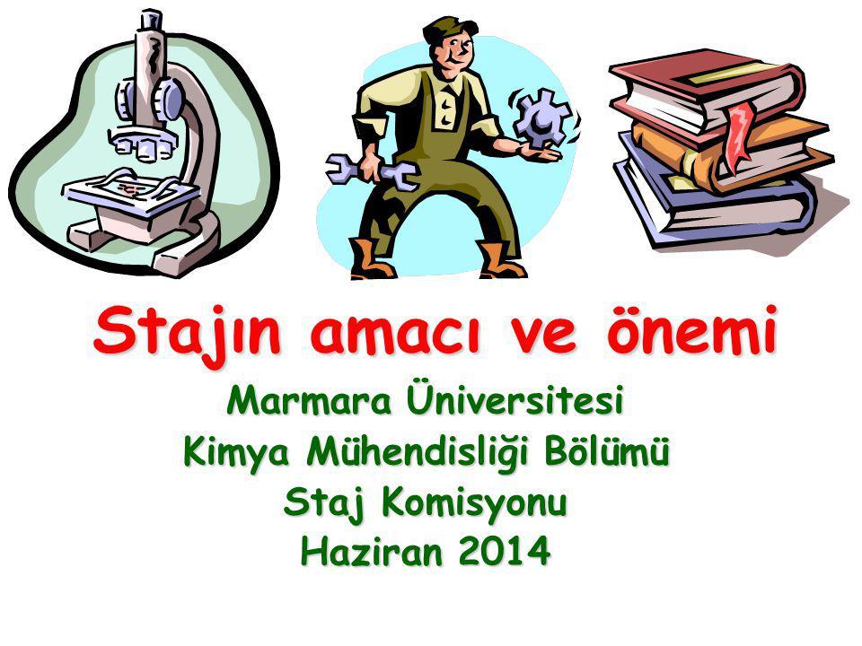 Stajın amacı ve önemi Marmara Üniversitesi Kimya Mühendisliği Bölümü Staj Komisyonu Haziran 2014