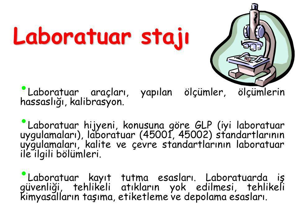 Laboratuar stajı Laboratuar araçları, yapılan ölçümler, ölçümlerin hassaslığı, kalibrasyon.