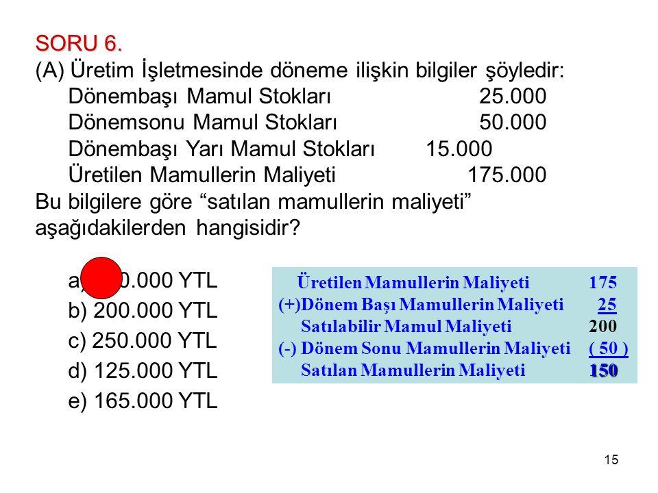 15 SORU 6. (A) Üretim İşletmesinde döneme ilişkin bilgiler şöyledir: Dönembaşı Mamul Stokları 25.000 Dönemsonu Mamul Stokları 50.000 Dönembaşı Yarı Ma