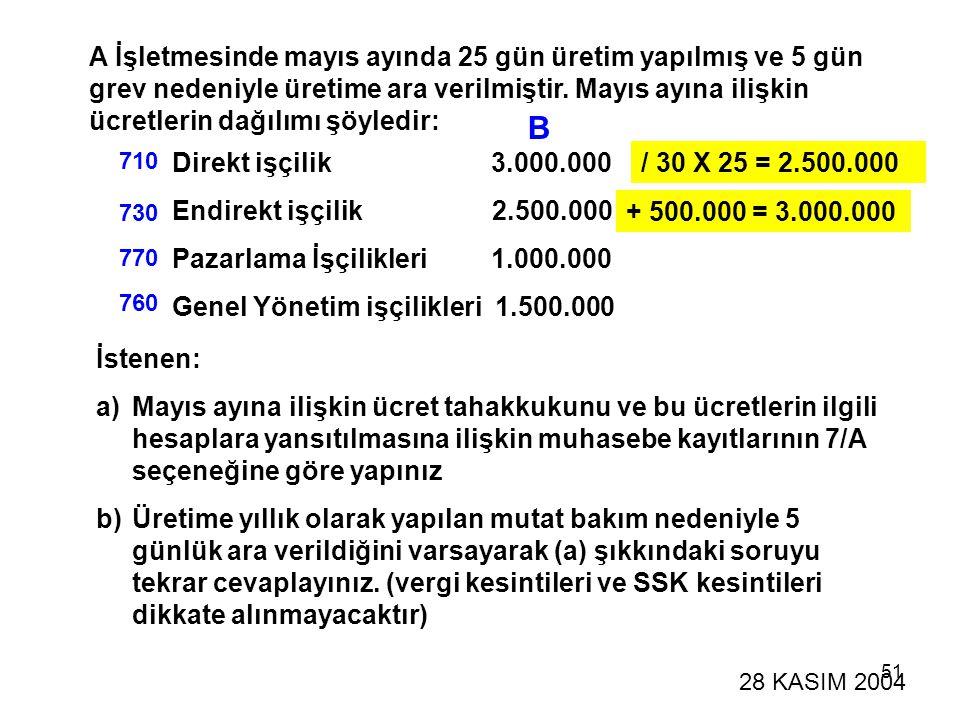 51 A İşletmesinde mayıs ayında 25 gün üretim yapılmış ve 5 gün grev nedeniyle üretime ara verilmiştir. Mayıs ayına ilişkin ücretlerin dağılımı şöyledi