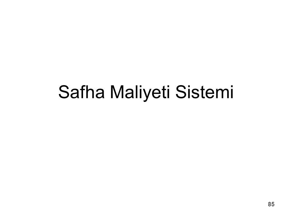 85 Safha Maliyeti Sistemi