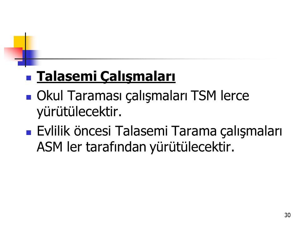 30 Talasemi Çalışmaları Okul Taraması çalışmaları TSM lerce yürütülecektir. Evlilik öncesi Talasemi Tarama çalışmaları ASM ler tarafından yürütülecekt