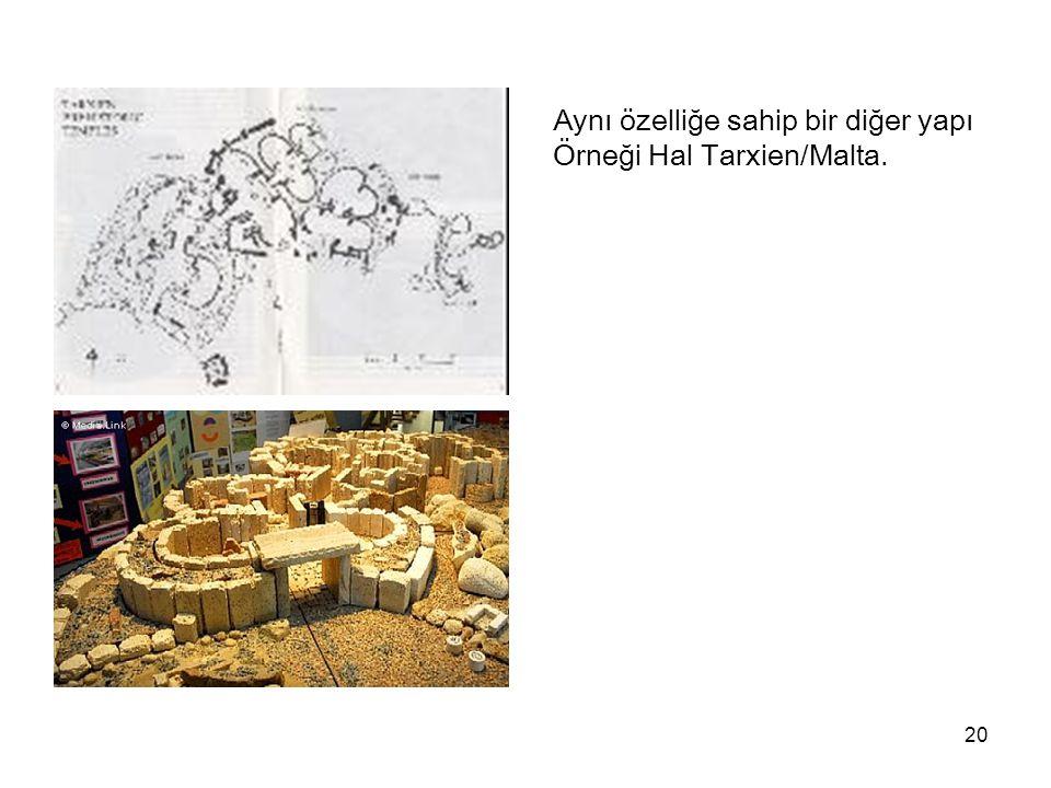 20 Aynı özelliğe sahip bir diğer yapı Örneği Hal Tarxien/Malta.