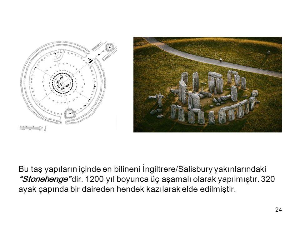 """24 Bu taş yapıların içinde en bilineni İngiltrere/Salisbury yakınlarındaki """"Stonehenge"""" dir. 1200 yıl boyunca üç aşamalı olarak yapılmıştır. 320 ayak"""