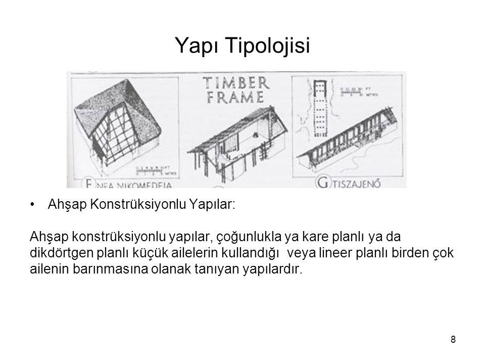 8 Yapı Tipolojisi Ahşap Konstrüksiyonlu Yapılar: Ahşap konstrüksiyonlu yapılar, çoğunlukla ya kare planlı ya da dikdörtgen planlı küçük ailelerin kull