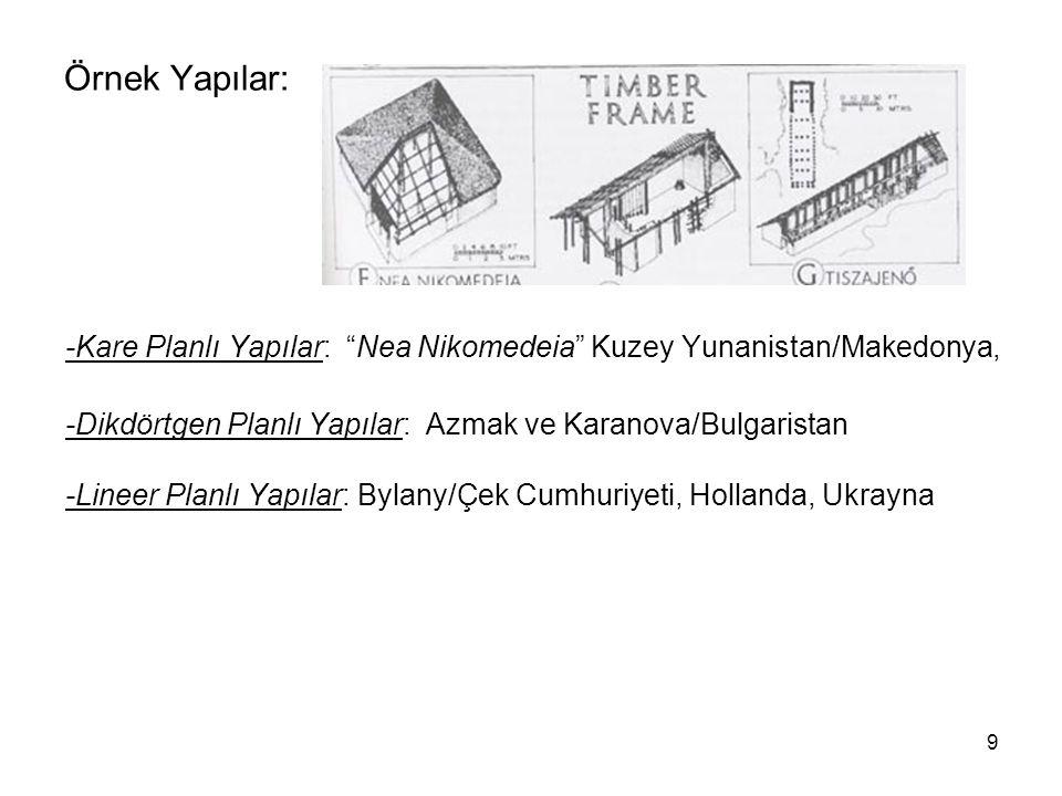 """9 Örnek Yapılar: -Kare Planlı Yapılar: """"Nea Nikomedeia"""" Kuzey Yunanistan/Makedonya, -Dikdörtgen Planlı Yapılar: Azmak ve Karanova/Bulgaristan -Lineer"""