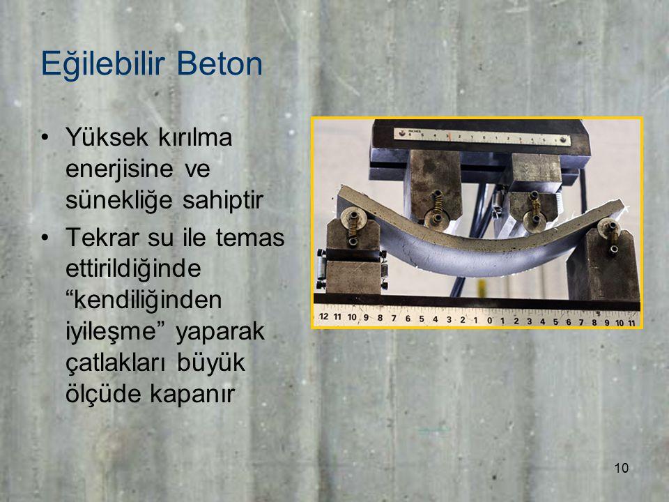 10 Eğilebilir Beton Yüksek kırılma enerjisine ve sünekliğe sahiptir Tekrar su ile temas ettirildiğinde kendiliğinden iyileşme yaparak çatlakları büyük ölçüde kapanır