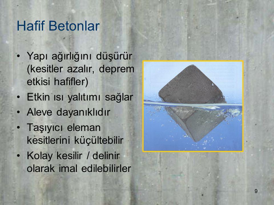 9 Hafif Betonlar Yapı ağırlığını düşürür (kesitler azalır, deprem etkisi hafifler) Etkin ısı yalıtımı sağlar Aleve dayanıklıdır Taşıyıcı eleman kesitlerini küçültebilir Kolay kesilir / delinir olarak imal edilebilirler
