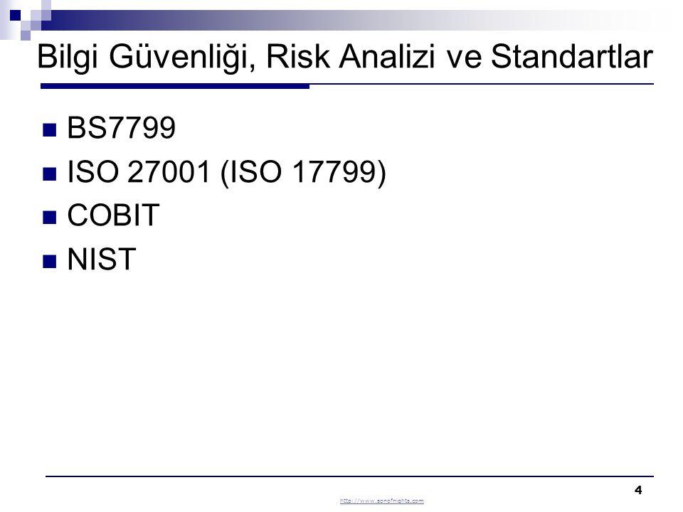 4 Bilgi Güvenliği, Risk Analizi ve Standartlar BS7799 ISO 27001 (ISO 17799) COBIT NIST http://www.sonofnights.com