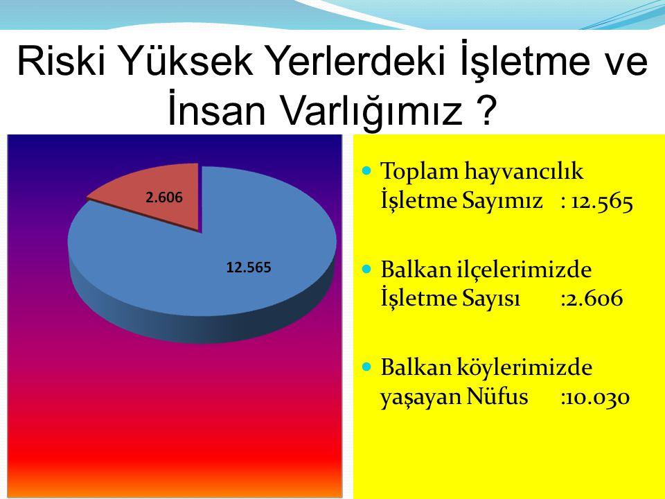 Toplam hayvancılık İşletme Sayımız: 12.565 Balkan ilçelerimizde İşletme Sayısı:2.606 Balkan köylerimizde yaşayan Nüfus:10.030 Riski Yüksek Yerlerdeki