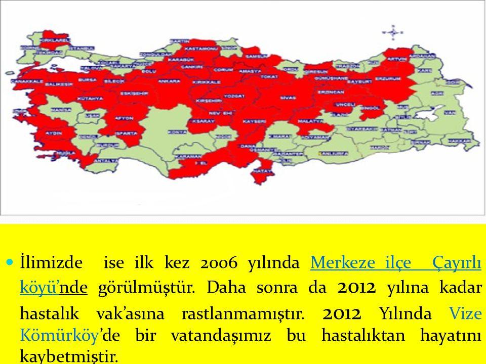 İlimizde ise ilk kez 2006 yılında Merkeze ilçe Çayırlı köyü'nde görülmüştür. Daha sonra da 2012 yılına kadar hastalık vak'asına rastlanmamıştır. 2012