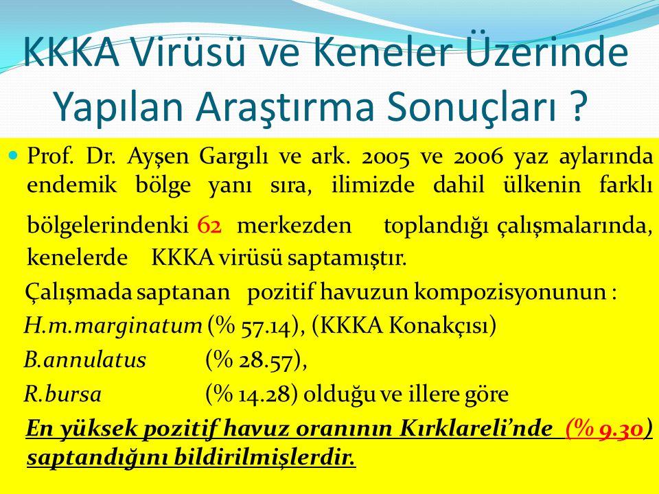 KKKA Virüsü ve Keneler Üzerinde Yapılan Araştırma Sonuçları ? Prof. Dr. Ayşen Gargılı ve ark. 2005 ve 2006 yaz aylarında endemik bölge yanı sıra, ilim