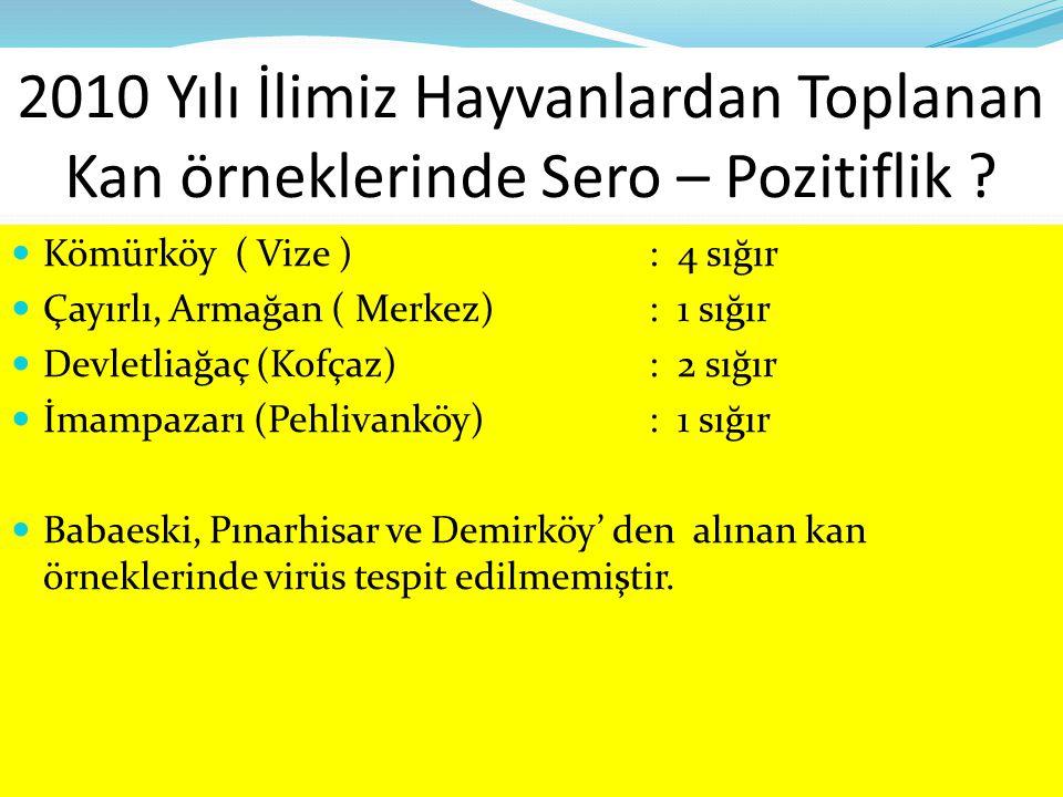 2010 Yılı İlimiz Hayvanlardan Toplanan Kan örneklerinde Sero – Pozitiflik ? Kömürköy ( Vize ): 4 sığır Çayırlı, Armağan ( Merkez): 1 sığır Devletliağa