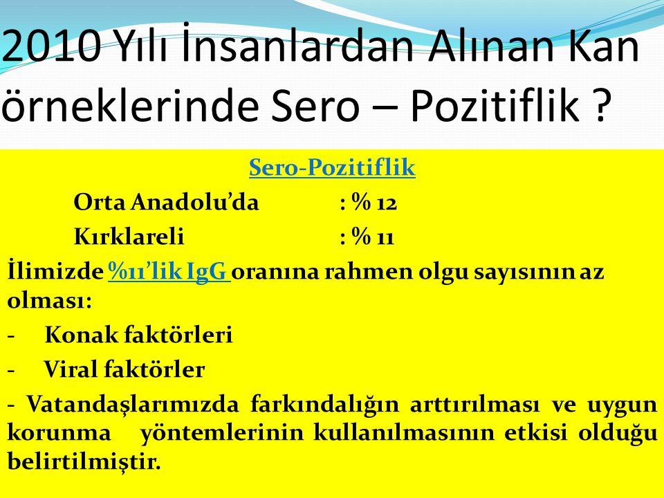 2010 Yılı İnsanlardan Alınan Kan örneklerinde Sero – Pozitiflik ? Sero-Pozitiflik Orta Anadolu'da: % 12 Kırklareli: % 11 İlimizde %11'lik IgG oranına
