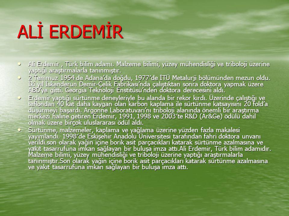 ALİ ERDEMİR Ali Erdemir, Türk bilim adamı.