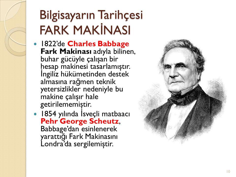 Bilgisayarın Tarihçesi FARK MAK İ NASI 1822'de Charles Babbage Fark Makinası adıyla bilinen, buhar gücüyle çalışan bir hesap makinesi tasarlamıştır. İ