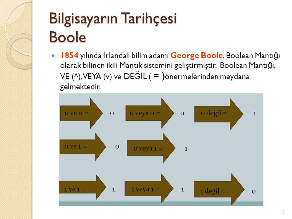 Bilgisayarın Tarihçesi Boole 13 1854 yılında İ rlandalı bilim adamı George Boole, Boolean Mantı ğ ı olarak bilinen ikili Mantık sistemini geliştirmişt