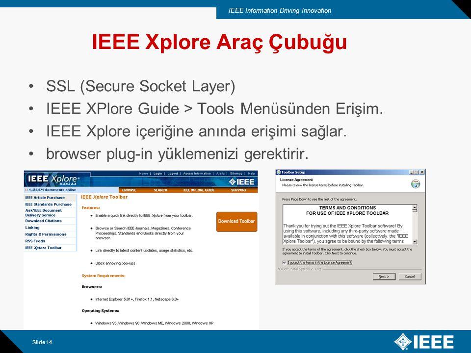 IEEE Information Driving Innovation Slide 14 SSL (Secure Socket Layer) IEEE XPlore Guide > Tools Menüsünden Erişim. IEEE Xplore içeriğine anında erişi