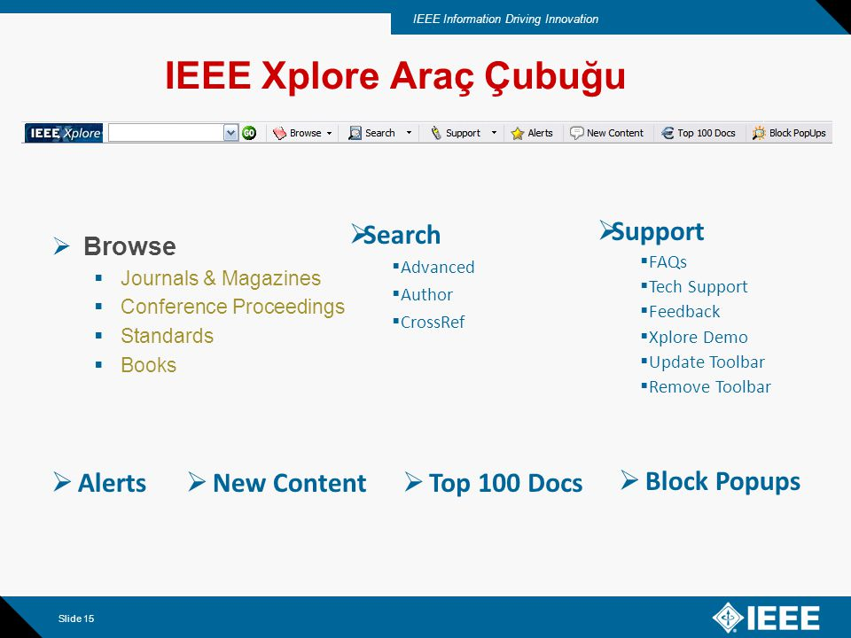 IEEE Information Driving Innovation Slide 15 IEEE Xplore Araç Çubuğu  Browse  Journals & Magazines  Conference Proceedings  Standards  Books  Support  FAQs  Tech Support  Feedback  Xplore Demo  Update Toolbar  Remove Toolbar  Search  Advanced  Author  CrossRef  Block Popups  Alerts  New Content  Top 100 Docs