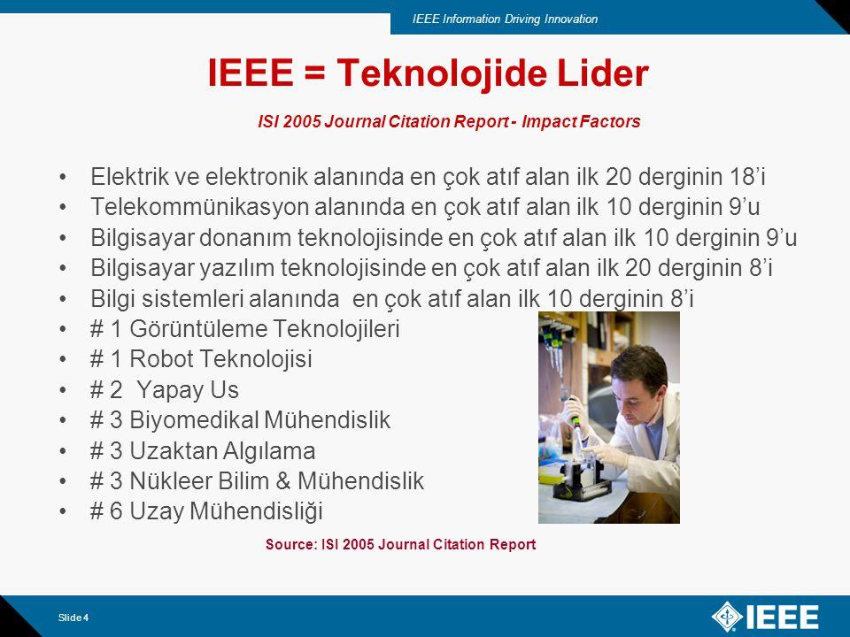 IEEE Information Driving Innovation Slide 4 Elektrik ve elektronik alanında en çok atıf alan ilk 20 derginin 18'i Telekommünikasyon alanında en çok atıf alan ilk 10 derginin 9'u Bilgisayar donanım teknolojisinde en çok atıf alan ilk 10 derginin 9'u Bilgisayar yazılım teknolojisinde en çok atıf alan ilk 20 derginin 8'i Bilgi sistemleri alanında en çok atıf alan ilk 10 derginin 8'i # 1 Görüntüleme Teknolojileri # 1 Robot Teknolojisi # 2 Yapay Us # 3 Biyomedikal Mühendislik # 3 Uzaktan Algılama # 3 Nükleer Bilim & Mühendislik # 6 Uzay Mühendisliği IEEE = Teknolojide Lider ISI 2005 Journal Citation Report - Impact Factors Source: ISI 2005 Journal Citation Report