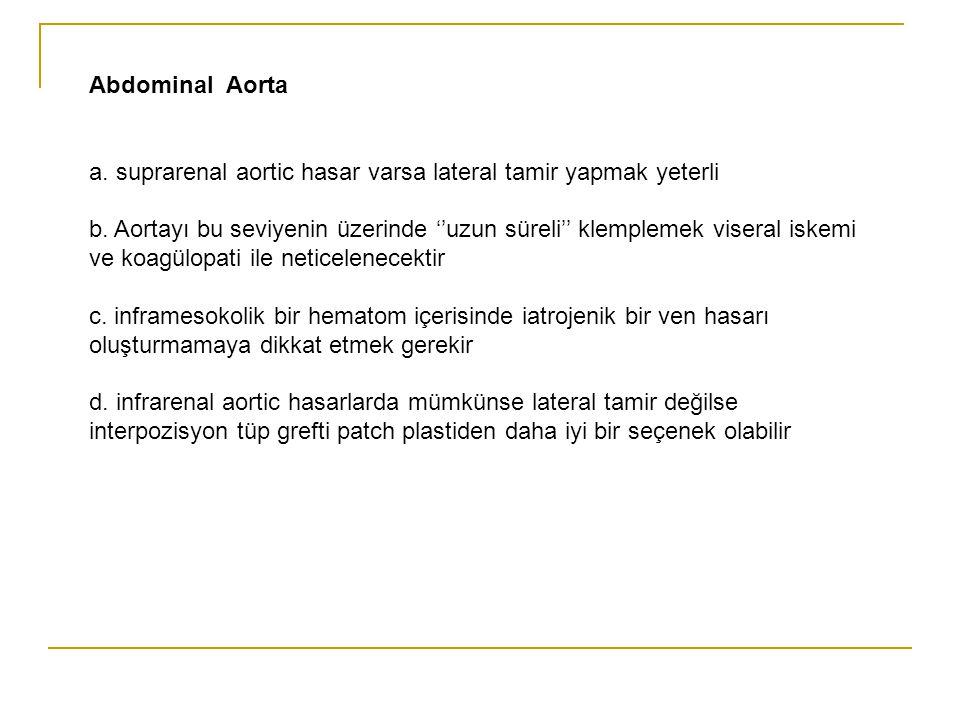 Abdominal Aorta a. suprarenal aortic hasar varsa lateral tamir yapmak yeterli b. Aortayı bu seviyenin üzerinde ''uzun süreli'' klemplemek viseral iske