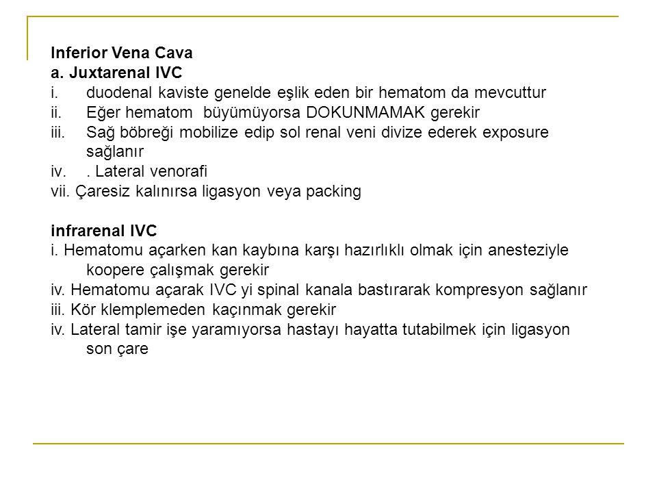 Inferior Vena Cava a. Juxtarenal IVC i.duodenal kaviste genelde eşlik eden bir hematom da mevcuttur ii.Eğer hematom büyümüyorsa DOKUNMAMAK gerekir iii