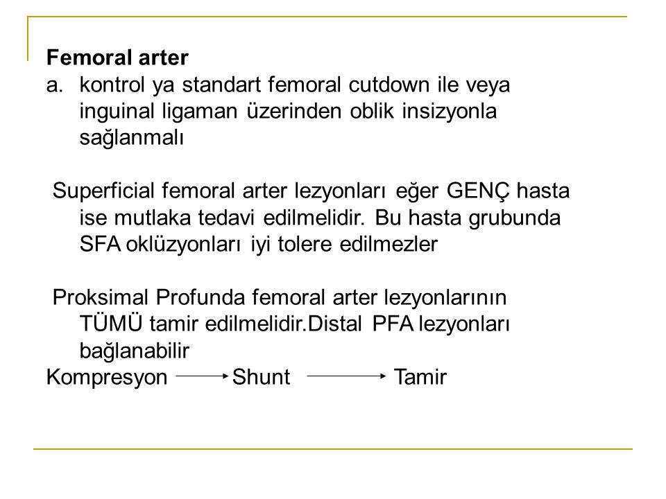Femoral arter a.kontrol ya standart femoral cutdown ile veya inguinal ligaman üzerinden oblik insizyonla sağlanmalı Superficial femoral arter lezyonla