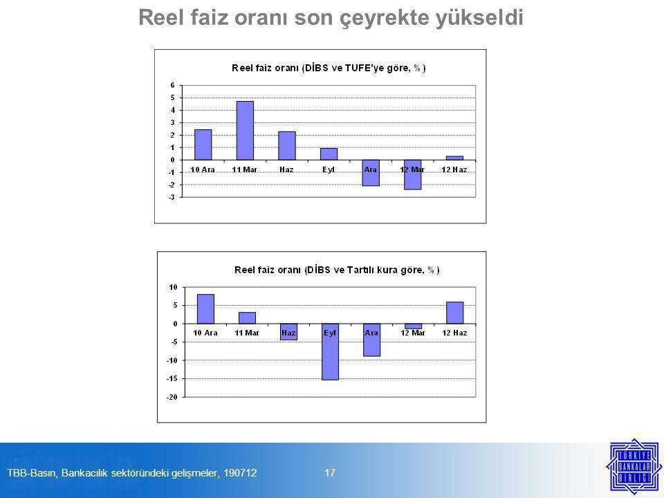 17TBB-Basın, Bankacılık sektöründeki gelişmeler, 190712 Reel faiz oranı son çeyrekte yükseldi