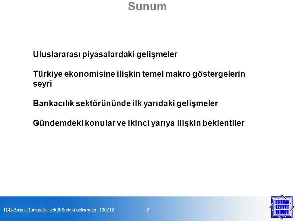 Sunum Uluslararası piyasalardaki gelişmeler Türkiye ekonomisine ilişkin temel makro göstergelerin seyri Bankacılık sektörününde ilk yarıdaki gelişmeler Gündemdeki konular ve ikinci yarıya ilişkin beklentiler 2TBB-Basın, Bankacılık sektöründeki gelişmeler, 190712