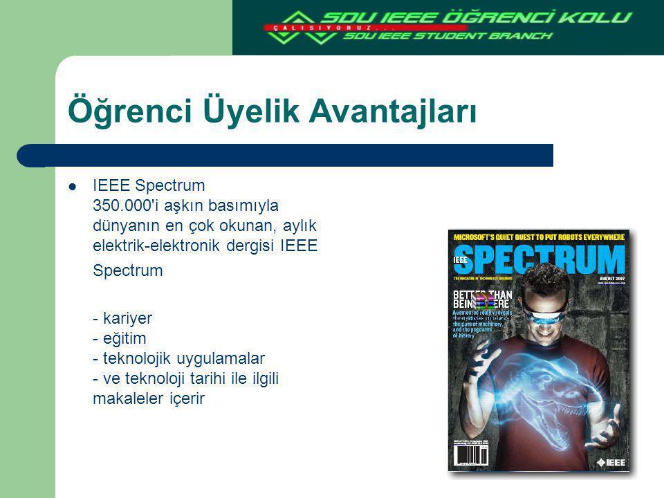 Öğrenci Üyelik Avantajları IEEE Spectrum 350.000'i aşkın basımıyla dünyanın en çok okunan, aylık elektrik-elektronik dergisi IEEE Spectrum - kariyer -