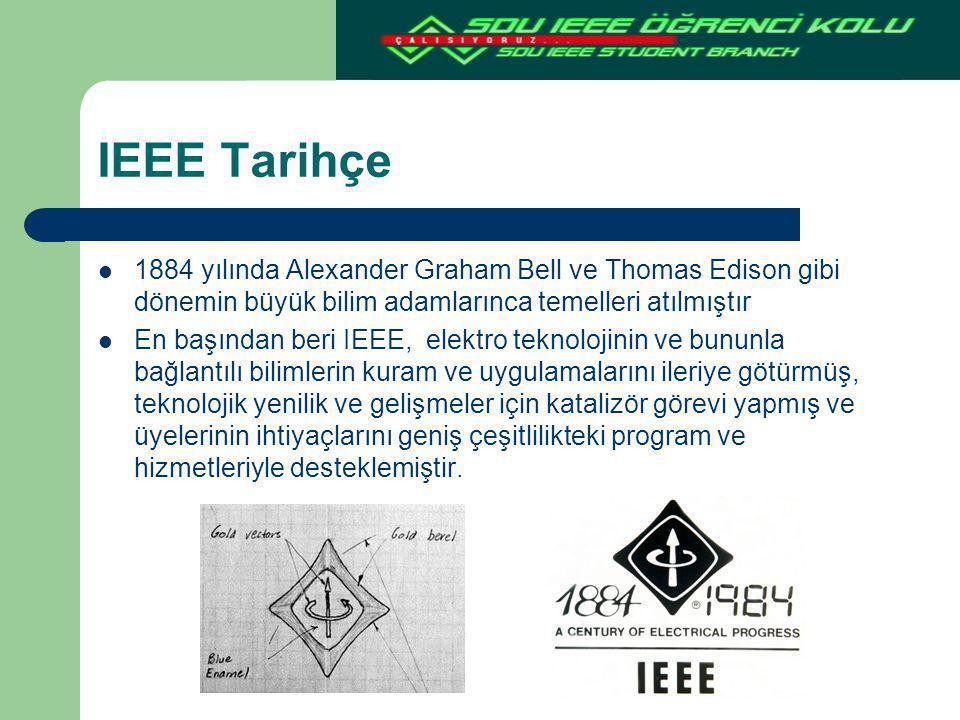 IEEE Tarihçe 1884 yılında Alexander Graham Bell ve Thomas Edison gibi dönemin büyük bilim adamlarınca temelleri atılmıştır En başından beri IEEE, elek