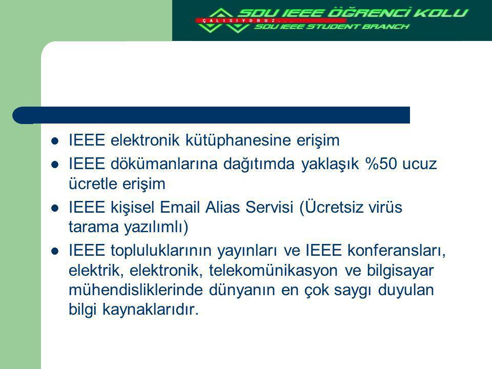 IEEE elektronik kütüphanesine erişim IEEE dökümanlarına dağıtımda yaklaşık %50 ucuz ücretle erişim IEEE kişisel Email Alias Servisi (Ücretsiz virüs ta