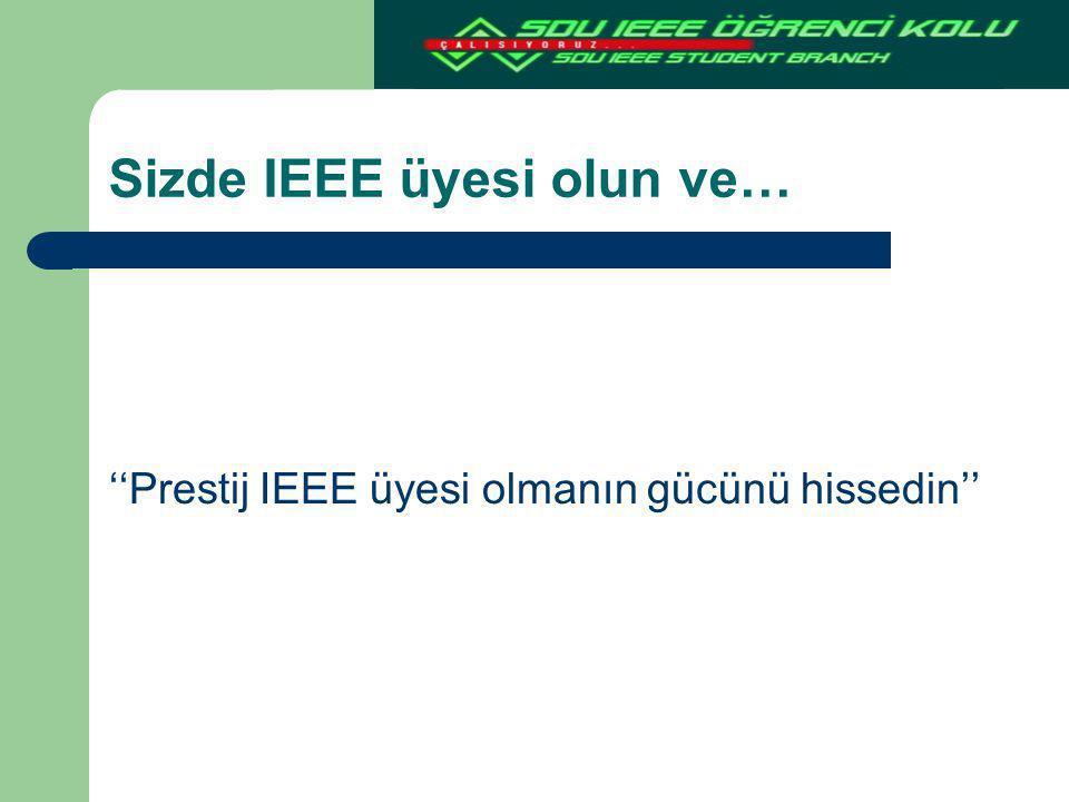 Sizde IEEE üyesi olun ve… ''Prestij IEEE üyesi olmanın gücünü hissedin''